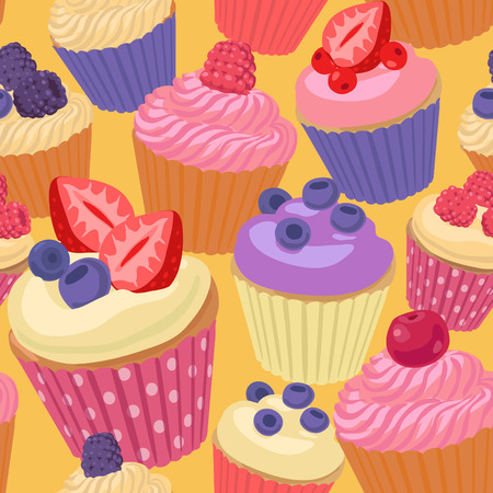 blueberry muffin: Seamless pattern with cupcakes and berries