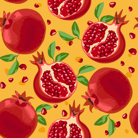 Seamless pattern with pomegranate and leafs
