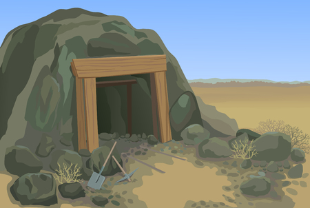 Old mine desert landscape vector illustration Stock Illustratie