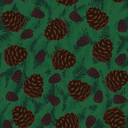 pine cones: Seamless Pattern with Pine Cones