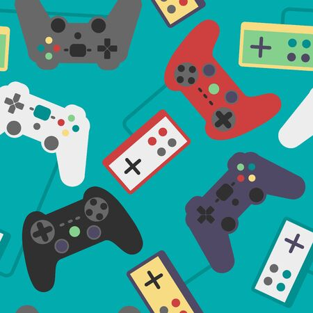 sedentary: Seamless pattern video game controllers Illustration