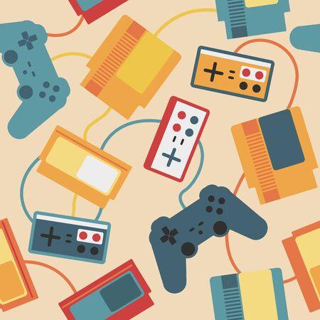 sedentario: Patrón sin fisuras con los dispositivos de juego de vídeo de edad Vectores