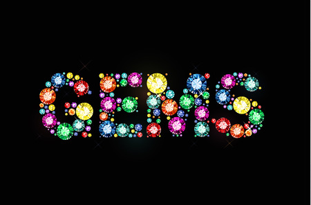 Word gems made of colored gems