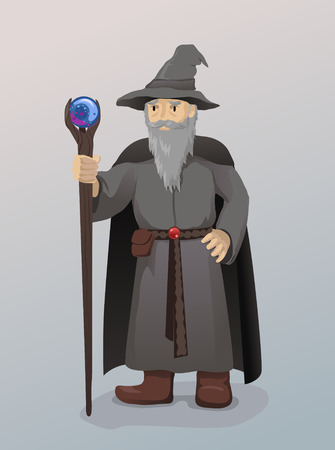 Illustration of Wizard With Magic Wand