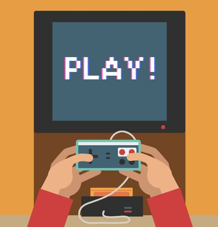 sedentary: Hands holding old video game controller Illustration