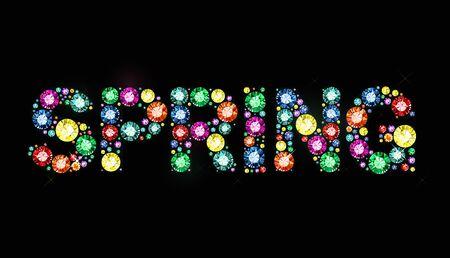exuberance: Word spring made of colored gems Illustration