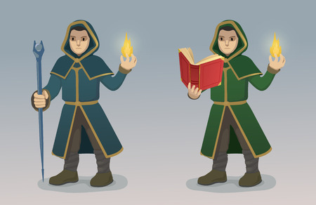 mage: Illustration of Magician With Magic Wand and Book