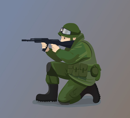 Illustration of Soldier Holding A Gun