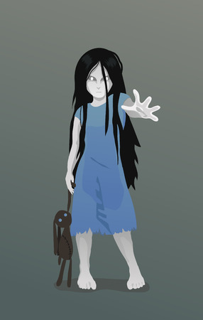 Illustration of Ghost girl with toy