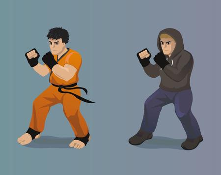 A vector cartoon illustration of a fighter Illustration