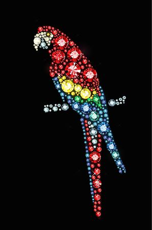 exuberance: Parrot made of colored gems