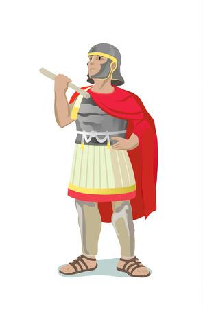 Illustration of roman warrior on white background Illustration