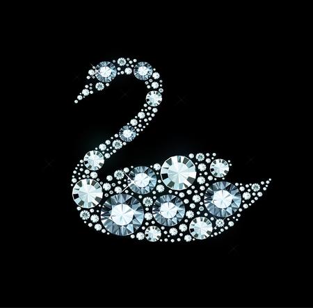 Swan made of shiny gems Illustration