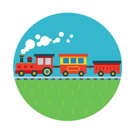 Vector illustration of red flat train