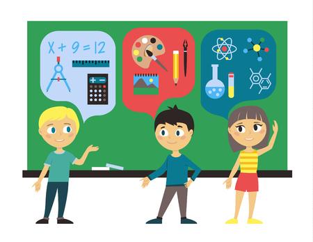 Illustration of Chalkboard with Children