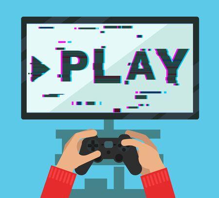 sedentario: Manos que sostienen el dispositivo de juego de vídeo