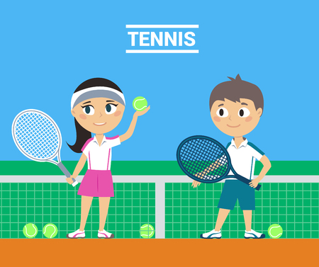 Illustration of Young Tennis Players