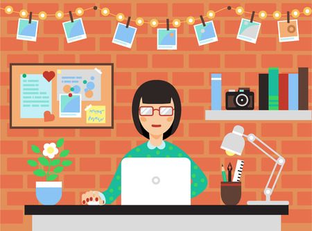 Woman With Laptop In Modern Workspace