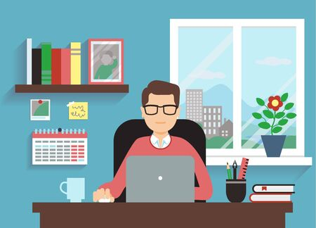 Man With Laptop In Comfortable Workspace Illustration