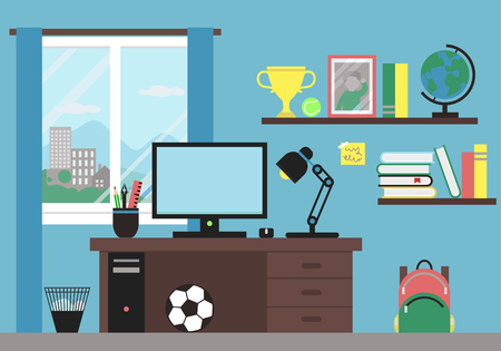 Illustration of Workplace in Room
