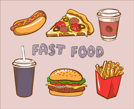 Set Of Colorful Hand Drawn Vector Fast Food Icons