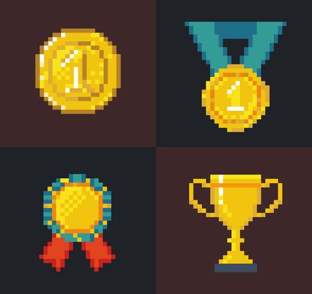 Set of pixel Awards and Trophy Illustration