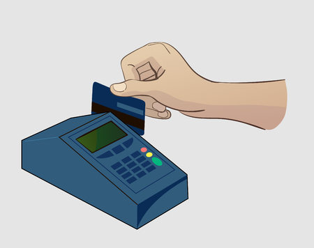paying: Paying Credit Card For Purchases Illustration