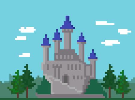 Paisaje con el castillo medieval de píxeles Ilustración de vector