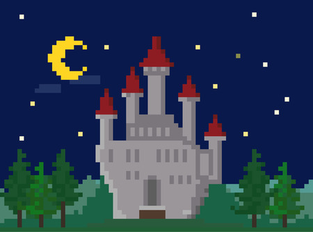 Pixel Night Landscape With Medieval Castle