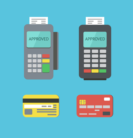 Flat Payment Terminals and Plastic Cards Illustration