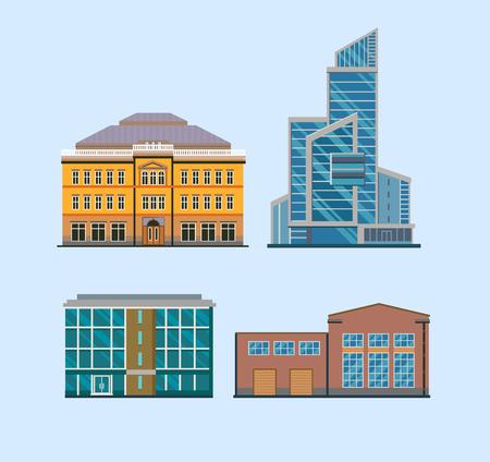 Set Of Flat City Buildings