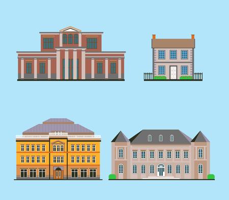 Set Of Flat Historical Buildings