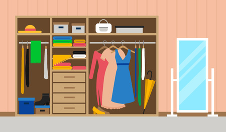 Flat room interior with wardrobe and mirror