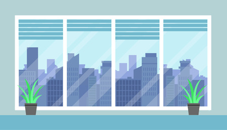 Flat Cityscape And Office Room Illustration