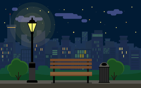 Flat Night Cityscape With Park And Bench Illustration