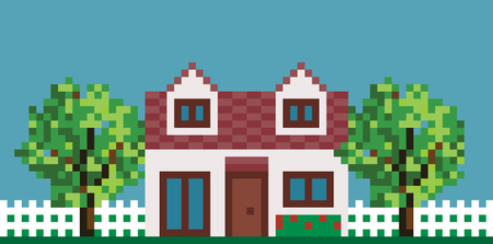Illustration Of Pixel House with Fence and Garden Illustration
