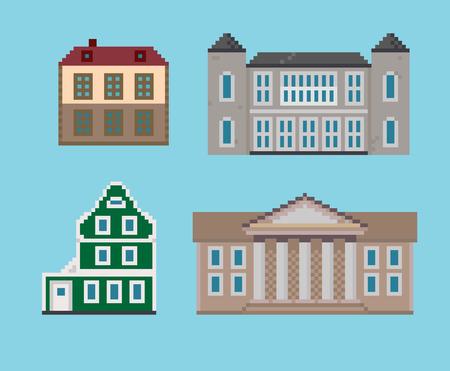 Set of Various Pixel Houses
