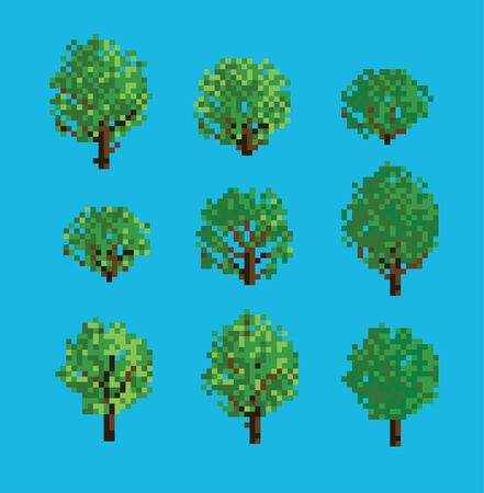 Set of Various Pixelated Trees and Bushes Illustration