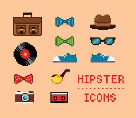 Set of Vintage Pixel Hipster Icons Illustration