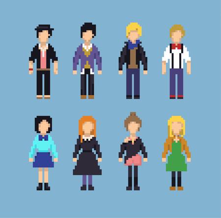 Pixel Set of Various Hipster People