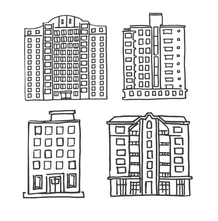 multistorey: Set of hand drawn multistorey houses