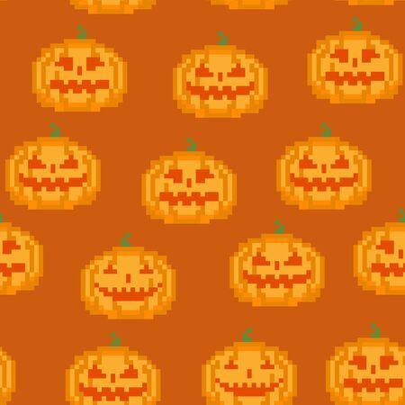 Seamless Colorful Pumpkin Pixel Pattern