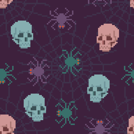 play poison: Pixel Seamless Spider Pattern with Skulls