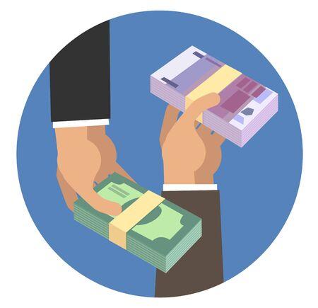 Hands holding stacks of money Illusztráció