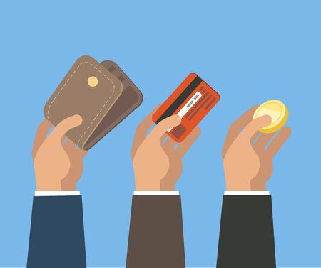 Hands holding card, wallet and coin Illusztráció