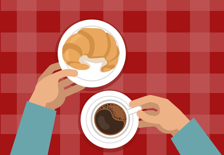 continental food: Hands Holding Croissant And Coffee on Red Background