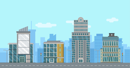 business buildings: Street with Flat Business Buildings