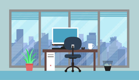 Flat Cityscape And Modern Office Room