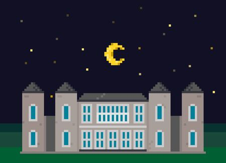 Pixel Landscape With Mansion and Moon
