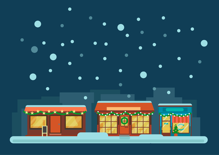 small town: Small Town Street at Winter Night or Twilight. Houses with lanterns and decorations